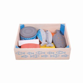 Wooden Seafood Play Food in Crate