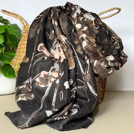 Black Abstract Floral and Vine Print Scarf