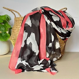 Black and Coral Abstract Stripe Scarf with Colour Block Border