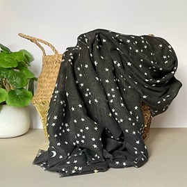 Black Scarf with Gold Small Moon and Stars Print