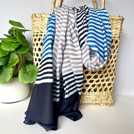 Blue and Grey Scarf with Tri-Colour Stripes