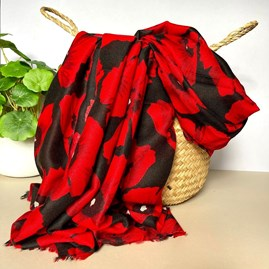 Bold Red Poppy Print Frayed Scarf in Black