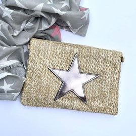 Brown Rattan Clutch Bag with Copper Star