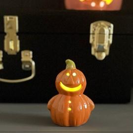 Ceramic Halloween Light Up Pumpkin Person