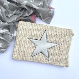 Cream Rattan Clutch Bag with Silver Star