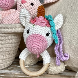 Crochet Ring Rattle Unicorn