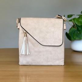 Cross Body Bag With Tassel in Beige