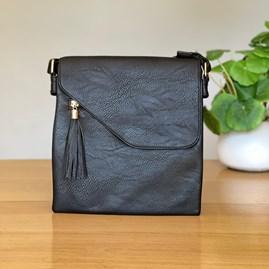 Cross Body Bag With Tassel in Black