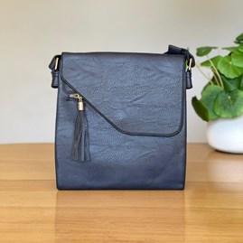 Cross Body Bag With Tassel in Blue