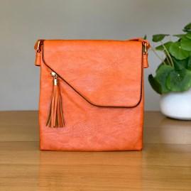 Cross Body Bag With Tassel in Orange