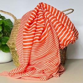 Cross Stripes Scarf in Orange