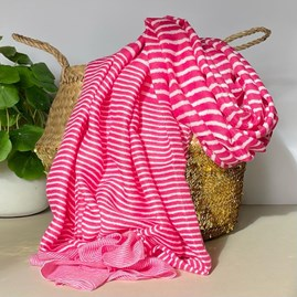 Cross Stripes Scarf in Pink