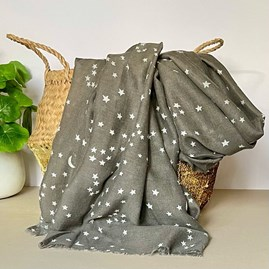 Dark Grey Scarf with Silver Small Moon and Stars Print