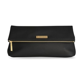 Katie Loxton Personalised Alise Soft Pebble Fold Over Clutch In Black