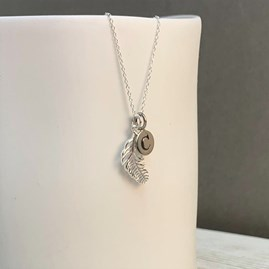 Personalised Sterling Silver Falling Feather Necklace