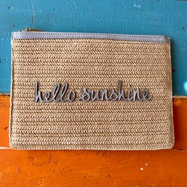 Katie Loxton Personalised Woven Straw 'Hello Sunshine' Pouch