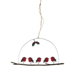 Five Robins on a Perch Hanging Decoration