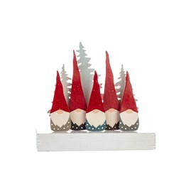 Five Tomte Gnomes on Block Christmas Decoration