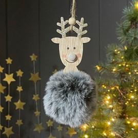 Fluffy Grey Hanging Reindeer Decoration