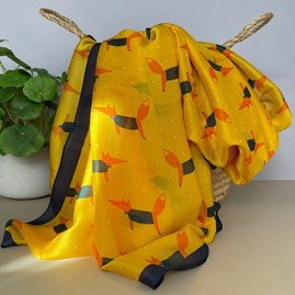 Fox Character Print Silk Scarf in Yellow