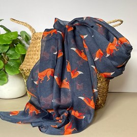 Foxes Print Scarf in Navy Blue