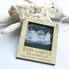 Personalised 'We Can't Wait To Meet You' Hanging Scan Frame