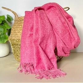 Fuchsia Pink Tassel Blanket Scarf