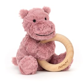 Jellycat Fuddlewuddle Hippo Wooden Ring Toy