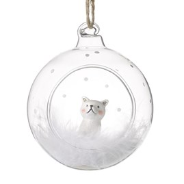 Glass Bauble with Cat and Feathers