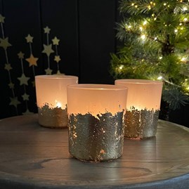 Gold and Clear Glass Tealight Holder