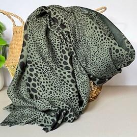 Green Scarf with Cheetah Print