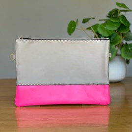 Grey and Neon Pink Clutch Bag