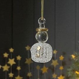 Hanging Glass Snowman Decoration