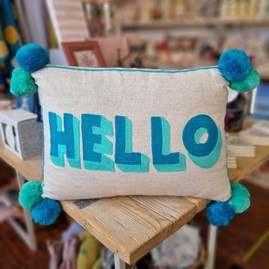 'HELLO' Rectangular Turquoise & Teal Cushion