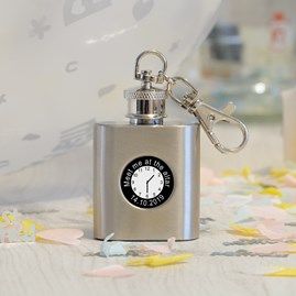 Personalised Wedding Day Hip Flask And Keyring