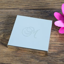 Personalised Initial Silver Compact Mirror