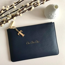 Katie Loxton Personalised 'Chic Chic Chic' Deep Blue Pouch