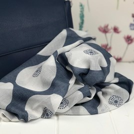 Navy Circular Patterned Scarf