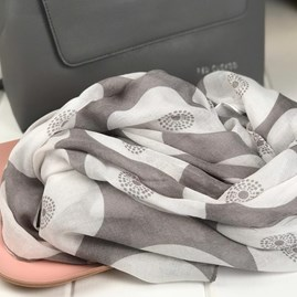 Grey Circular Patterned Scarf