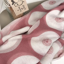 Pink Circular Patterned Scarf