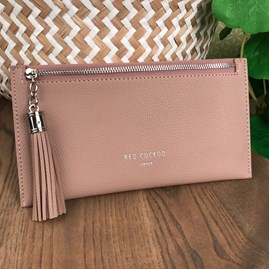 Coin Purse with Tassel Zip In Pink