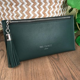 Coin Purse with Tassel Zip In Green