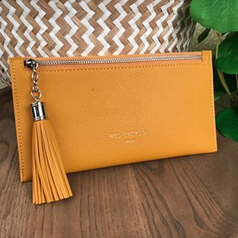 Coin Purse with Tassel Zip In Mustard