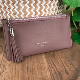 Coin Purse with Tassel Zip In Mauve