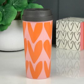 Caroline Gardner Pink And Orange Hearts Travel Mug