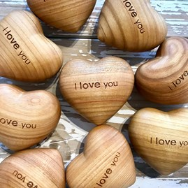 'I Love You' Cherry Tree Wooden Heart