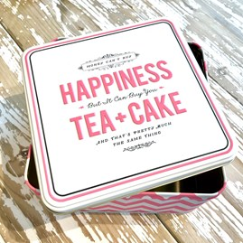 'Tea And Cake' Pink Chevron Cake Tin