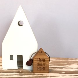 Wooden 'Home Sweet Home' House Key Ring