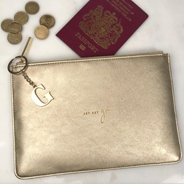 Katie Loxton Personalised 'Jet Set Go' Gold Perfect Pouch