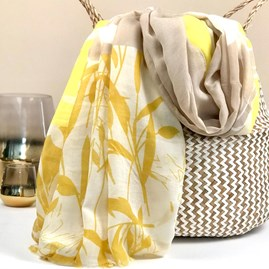 Bamboo Leaf Scarf In Yellow